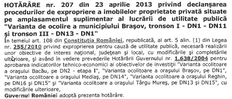 HG 207 - 23 aprilie 2013 - titlu