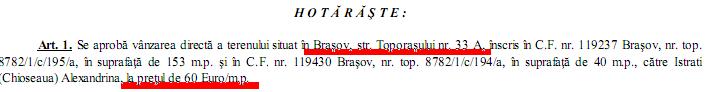 Pret real teren toporașului 33A - Primăria Brașov