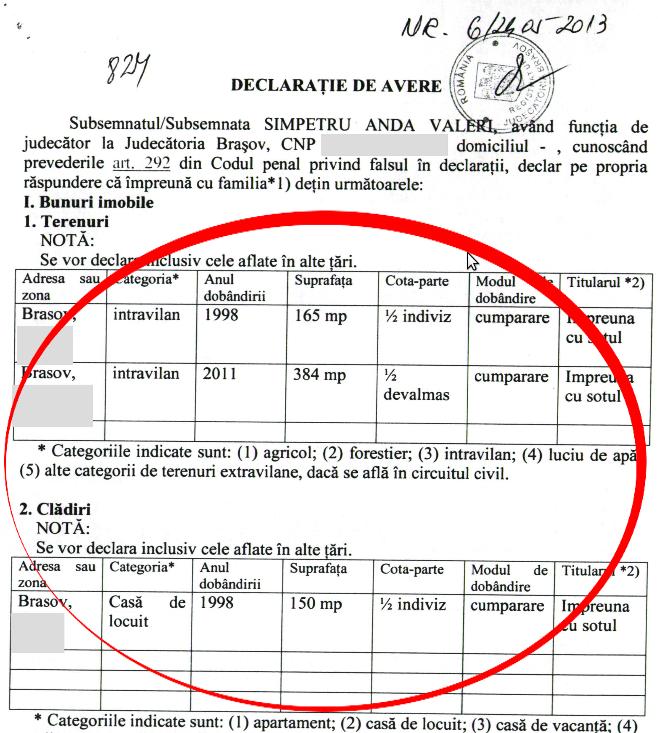 SÎMPETRU - declarație de avere - detaliu imobile - 2013