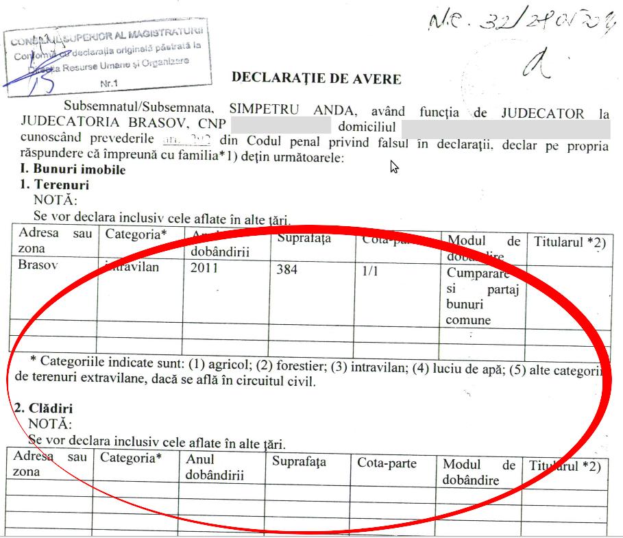 SÎMPETRU - declarație de avere - detaliu imobile - 2014